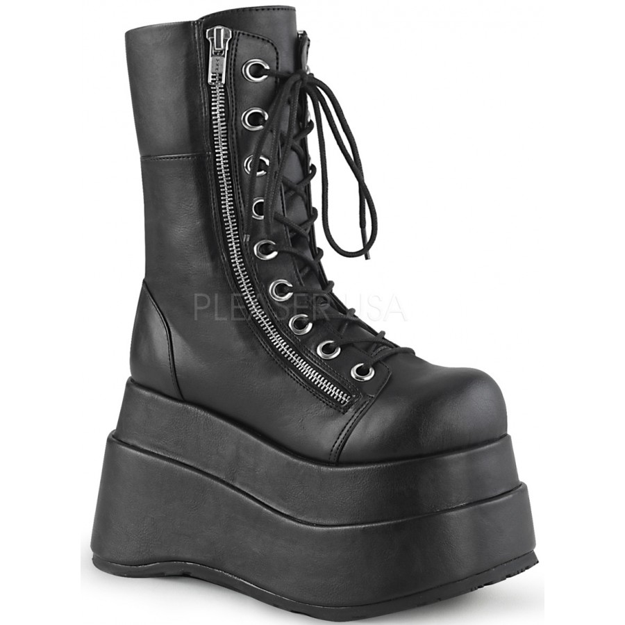presenting differently cheap Bear Black Matte Womens Platform Boot Combat Wedge Heel Gothic Boots