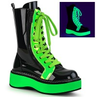 Emily Black and Neon Green Platform Mid-Calf Boot