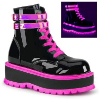 Slacker Neon Pink and Black Womens Ankle Boots