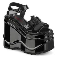 Bat Buckle Wave Platform Black Patent Platform Sandal