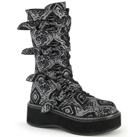 Emily Black and Silver Print Bat Buckled Boots
