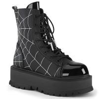 Spiderweb Black Slacker Ankle Boots