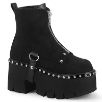 Ashes Black Suede Womens Ankle Boot