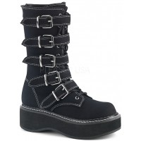 Emily White Edged Platform Mid-Calf Boot