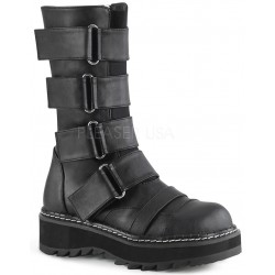 Lilith Black Wide Strap Mid-Calf Boots ShoeOodles Shoes for Women, Men and Children  Oodles of Shoes for Men, Women & Children
