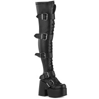 Black Chunky Platform Thigh High Boots