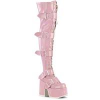 Pink Hologram Chunky Platform Thigh High Boots