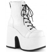 White Camel Chunky Heel Platform Boots