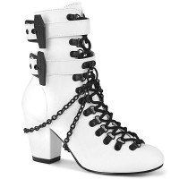 Coffin Buckled Granny Gothic White Ankle Boot