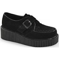 Platform Monk Creeper for Women in Black Faux Suede