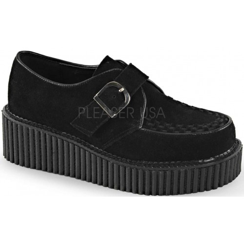 Platform Monk Creeper for Women in Black Faux Suede at ShoeOodles Shoes for Women, Men and Children,  Oodles of Shoes for Men, Women & Children