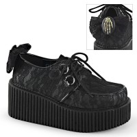 Black Lace Overlay Womens Creeper Shoe
