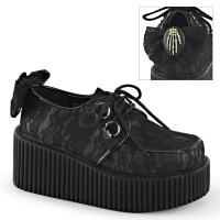 Black Lace Overlay Womens Creeper Shoe