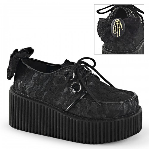 Black Lace Overlay Womens Creeper Shoe at ShoeOodles Shoes for Women, Men and Children,  Oodles of Shoes for Men, Women & Children