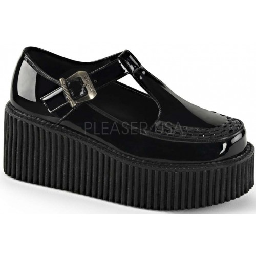 Platform T-Strap Black Creeper for Women at ShoeOodles Shoes for Women, Men and Children,  Oodles of Shoes for Men, Women & Children