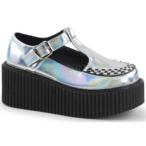 Platform T-Strap Silver Hologram Creeper for Women at ShoeOodles Shoes for Women, Men and Children,  Oodles of Shoes for Men, Women & Children