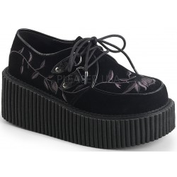 Embroidered Floral Black Faux Suede Womens Creeper ShoeOodles Shoes for Women, Men and Children  Oodles of Shoes for Men, Women & Children