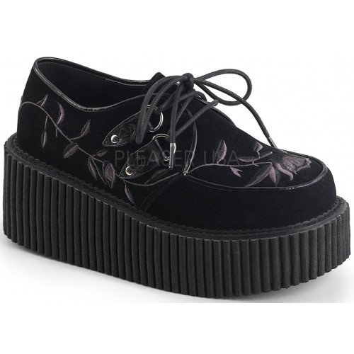 Embroidered Floral Black Faux Suede Womens Creeper at ShoeOodles Shoes for Women, Men and Children,  Oodles of Shoes for Men, Women & Children