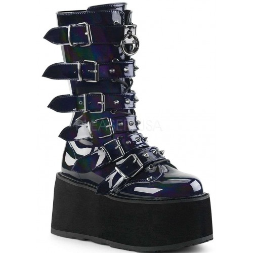 Damned Black Hologram Buckled Gothic Boots for Women at ShoeOodles Shoes for Women, Men and Children,  Oodles of Shoes for Men, Women & Children