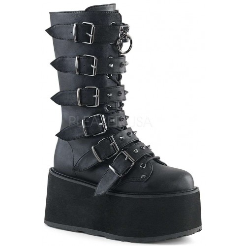 Damned Black Buckled Gothic Boots for Women at ShoeOodles Shoes for Women, Men and Children,  Oodles of Shoes for Men, Women & Children