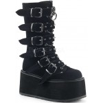 Damned Black Velvet Buckled Gothic Boots for Women at ShoeOodles Shoes for Women, Men and Children,  Oodles of Shoes for Men, Women & Children