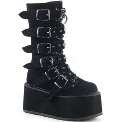 Damned Black Velvet Buckled Gothic Boots for Women ShoeOodles Shoes for Women, Men and Children  Oodles of Shoes for Men, Women & Children