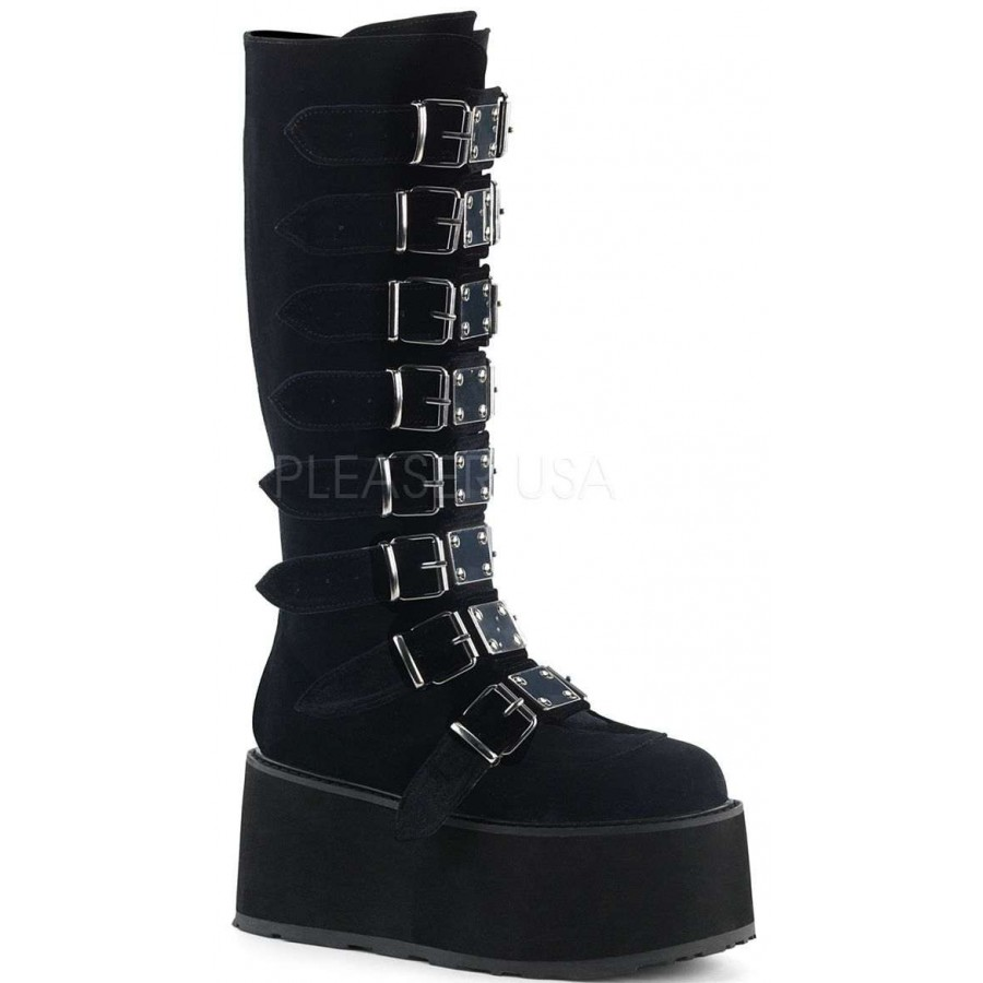 Damned Black Velvet Gothic Knee Boots For Women Platform