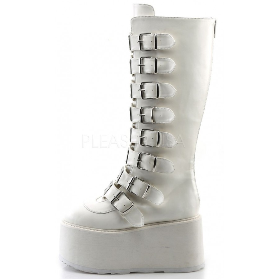 ea923927fe9 Damned White Gothic Knee Boots for Women| Platform Goth Boots