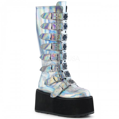 Damned Silver Hologram Gothic Knee Boots for Women at ShoeOodles Shoes for Women, Men and Children,  Oodles of Shoes for Men, Women & Children