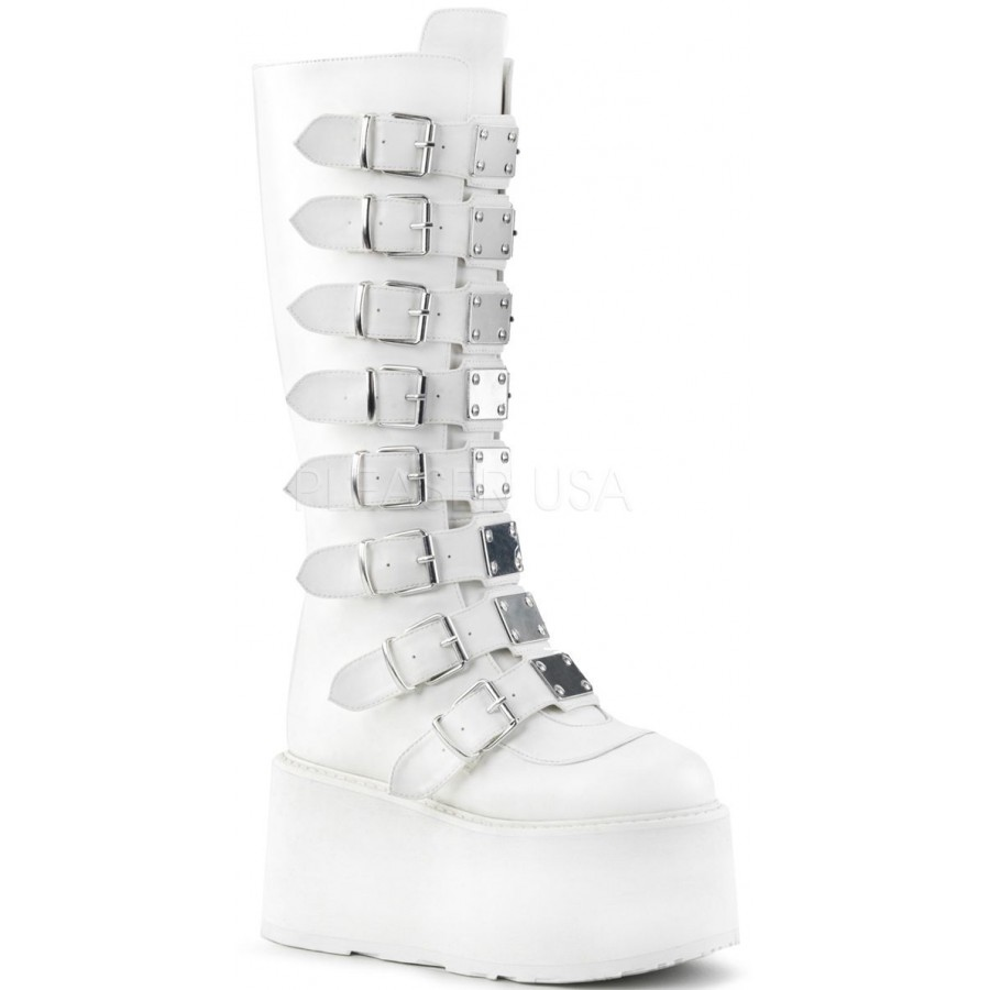 1887b6f5a6a Damned White Gothic Knee Boots for Women at ShoeOodles Shoes for Women