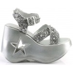 Dynamite Star Womens Platform Silver Sandal at ShoeOodles Shoes for Women, Men and Children,  Oodles of Shoes for Men, Women & Children