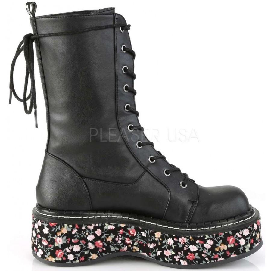 "DEMONIA Womens 2/"" Leopard Platform Punk Gothic Black Lace Up Mid Calf Boots"