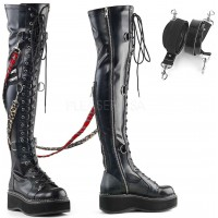 Emily Bondage Strap Low Platform Thigh High Gothic Boot