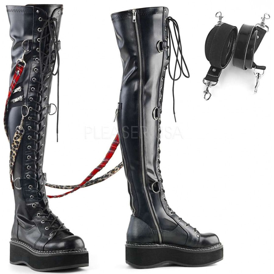 a49065ce9a6 Emily Bondage Strap Low Platform Thigh High Gothic Boot at ShoeOodles Shoes  for Women