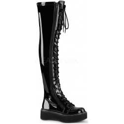 Emily Black Patent Thigh High Gothic Platform Boot ShoeOodles Shoes for Women, Men and Children  Oodles of Shoes for Men, Women & Children