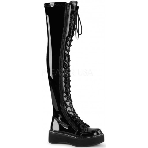 Emily Black Patent Thigh High Gothic Platform Boot at ShoeOodles Shoes for Women, Men and Children,  Oodles of Shoes for Men, Women & Children