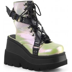 Open Back Green and Black Womens Platform Boots