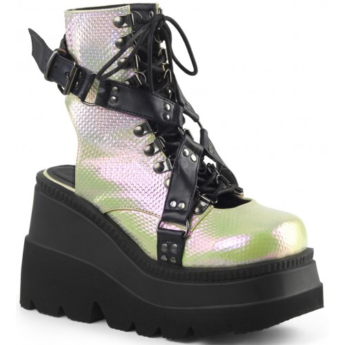 Open Back Green and Black Womens Platform Boots at ShoeOodles Shoes for Women, Men and Children,  Oodles of Shoes for Men, Women & Children