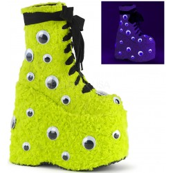 Slay Lime Green Googly Eye Platform Boots ShoeOodles Shoes for Women, Men and Children  Oodles of Shoes for Men, Women & Children