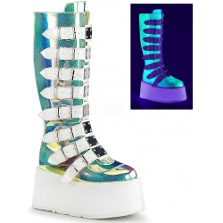 Damned Shimmering Green UV Knee Boots ShoeOodles Shoes for Women, Men and Children  Oodles of Shoes for Men, Women & Children