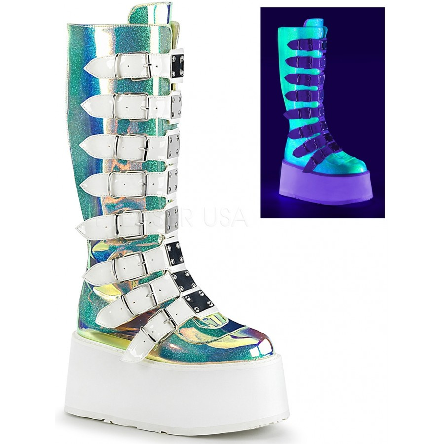 8097e02b2 Damned Shimmering Green UV Knee Boots at ShoeOodles Shoes for Women, Men  and Children,