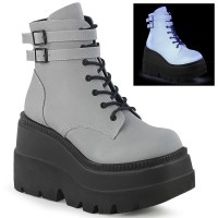 Shaker Reflective Grey Wedge Heel Ankle Boot
