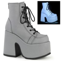 Grey Reflective Chained Camel Chunky Heel Platform Boots