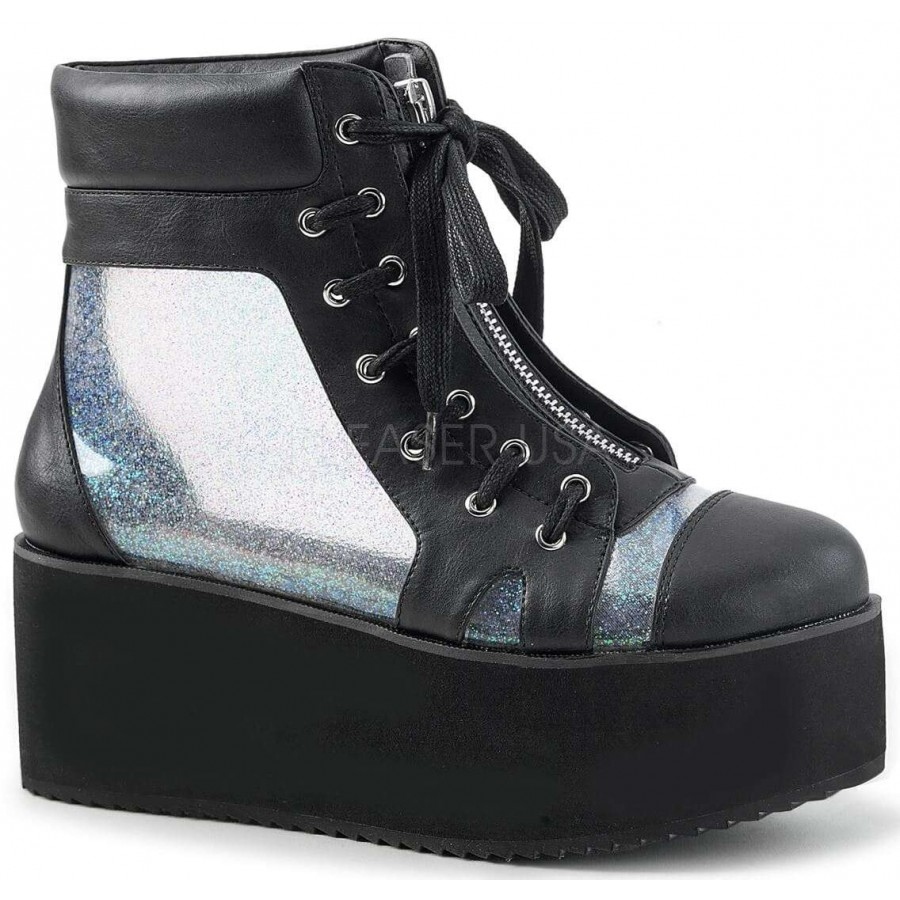 b18e3ef7f02 Grip 102 Platform Ankle Boot with Holographic Panels at ShoeOodles Shoes  for Women