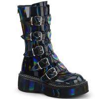 Emily Black Hologram Heart Combat Boots