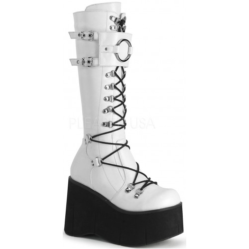 Kera White Platform Knee High Buckled Boots at ShoeOodles Shoes for Women, Men and Children,  Oodles of Shoes for Men, Women & Children