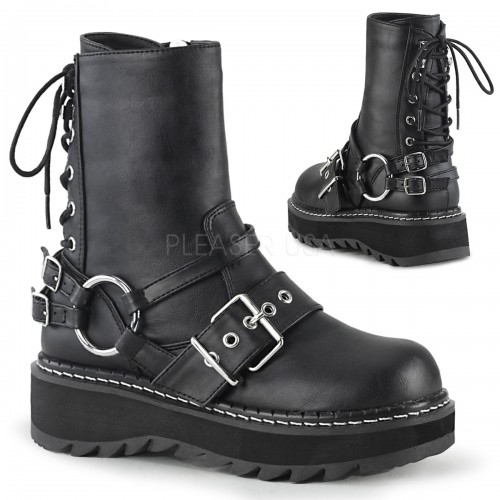 Lilith Black Platform Lace Up Back Ankle Boots at ShoeOodles Shoes for Women, Men and Children,  Oodles of Shoes for Men, Women & Children