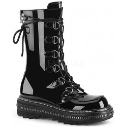 Lilith Metal Trimmed Mid-Calf Womens Black Patent Boot