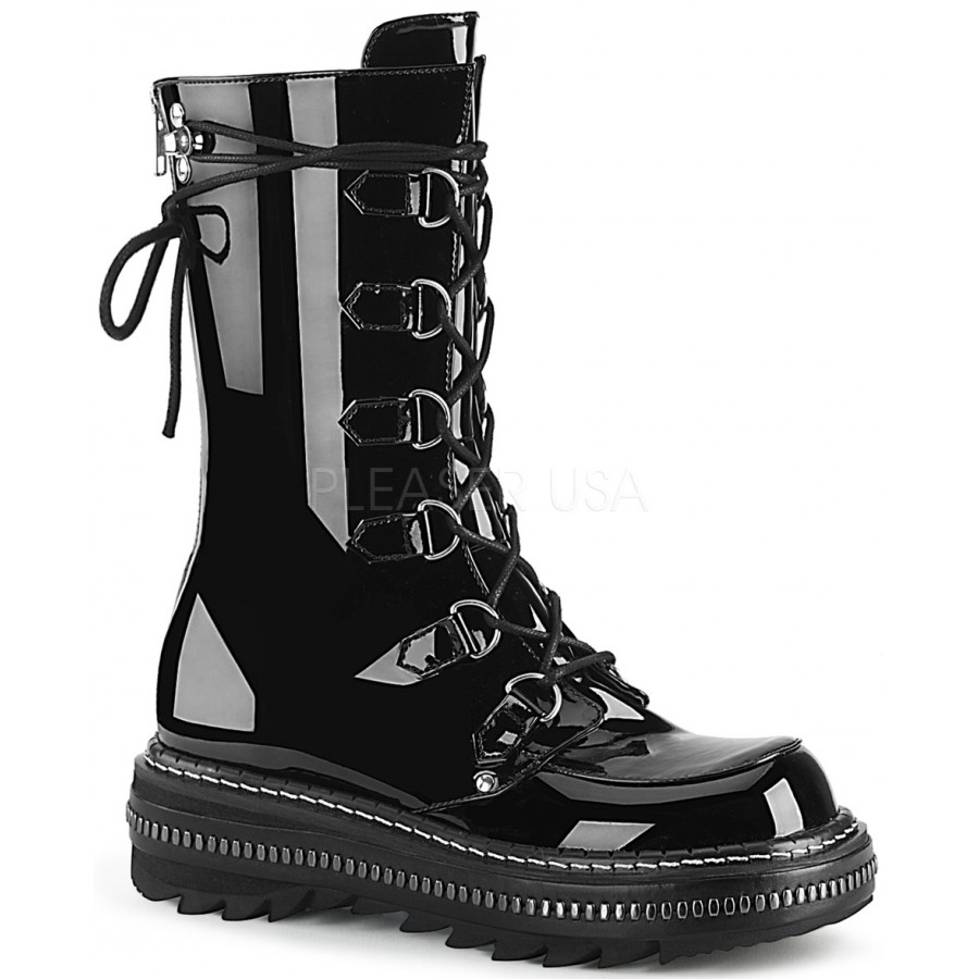 8361115610ccd Lilith Metal Trimmed Mid-Calf Womens Black Patent Boot at ShoeOodles Shoes  for Women,