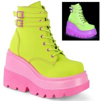 Lime Green and Pink Womens Ankle Boot